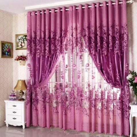 Peony Pattern Voile Curtain Window Curtains Purple