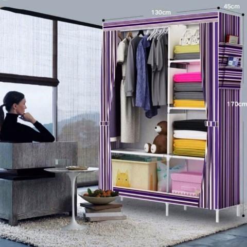 Stripes Storage Wardrobe and Clothes Organizer Purple