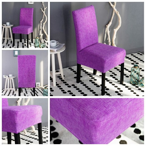 Universal multi-color texture stretch chair cover purple plain chair covers